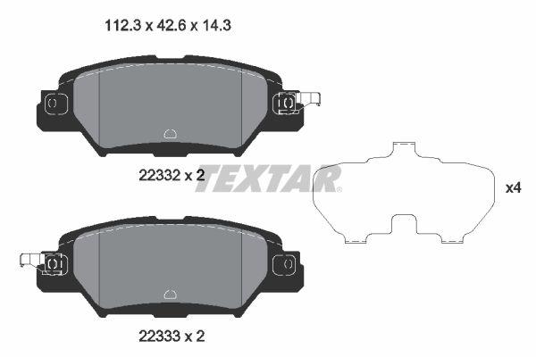 TEXTAR: Original Bremsbeläge 2233201 (Höhe: 42,6mm, Breite: 112,3mm, Dicke/Stärke: 14,3mm)