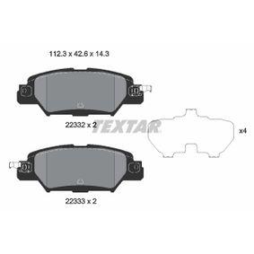 9073D1846 TEXTAR mit akustischer Verschleißwarnung, mit Zubehör Höhe: 42,5mm, Breite: 112,3mm, Dicke/Stärke: 14,3mm Bremsbelagsatz, Scheibenbremse 2233201 günstig kaufen