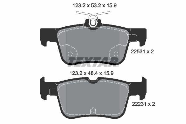 Bremsbeläge FORD Mondeo Mk5 Schrägheck (CE) hinten + vorne 2016 - TEXTAR 2253101 (Höhe 1: 53,2mm, Höhe 2: 48,4mm, Breite: 123,2mm, Dicke/Stärke: 15,9mm)