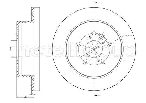 METELLI: Original Scheibenbremsen 23-0803C (Ø: 302,0mm, Lochanzahl: 5, Bremsscheibendicke: 9,0mm)