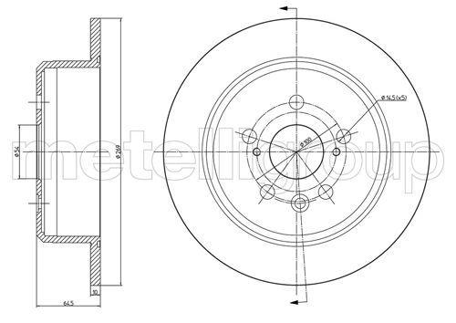 Bremsscheibe TOYOTA Celica IV Schrägheck (T160) hinten und vorne 1988 - METELLI 23-1672C (Ø: 269,0mm, Lochanzahl: 5, Bremsscheibendicke: 10,0mm)