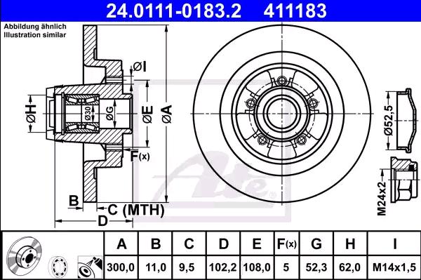 Renault MEGANE ATE Disque de frein 24.0111-0183.2