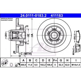 Kupi 411183 ATE Poln, prevlecen (premaz), s lezajem, z ABS senzorskim obrocem Ø: 300,0mm, Stevilo lukenj: 5, Debelina zavornega diska: 11,0mm Zavorni kolut 24.0111-0183.2 poceni