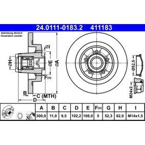 24011101832 Bremsscheiben ATE 24.0111-0183.2 - Große Auswahl - stark reduziert