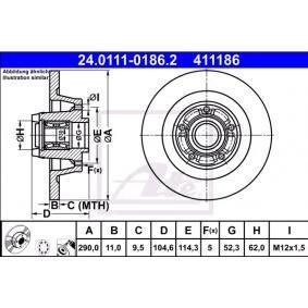 Kupi 411186 ATE Poln, prevlecen (premaz), s lezajem, z ABS senzorskim obrocem Ø: 290,0mm, Stevilo lukenj: 5, Debelina zavornega diska: 11,0mm Zavorni kolut 24.0111-0186.2 poceni