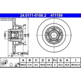24011101862 Bremsscheiben ATE 24.0111-0186.2 - Große Auswahl - stark reduziert