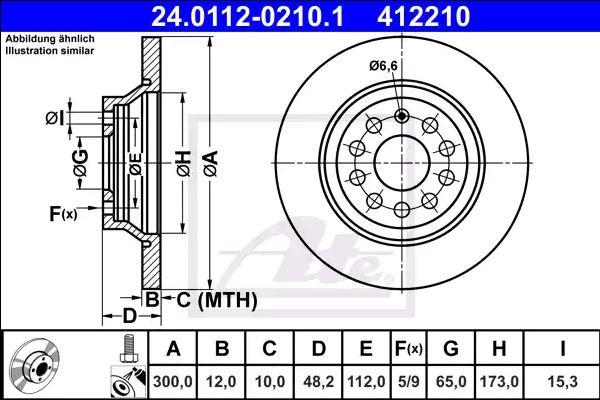 VW TOURAN 2020 Scheibenbremsen - Original ATE 24.0112-0210.1 Ø: 300,0mm, Lochanzahl: 5, Bremsscheibendicke: 12,0mm
