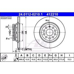 412210 ATE Voll, beschichtet, mit Schrauben Ø: 300,0mm, Lochanzahl: 5, Bremsscheibendicke: 12,0mm Bremsscheibe 24.0112-0210.1 günstig kaufen