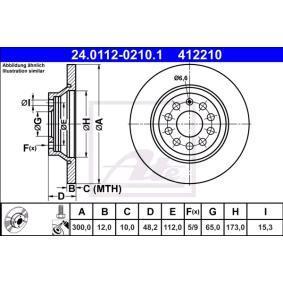 Kupi 412210 ATE Poln, prevlecen (premaz), z vijaki Ø: 300,0mm, Stevilo lukenj: 5, Debelina zavornega diska: 12,0mm Zavorni kolut 24.0112-0210.1 poceni