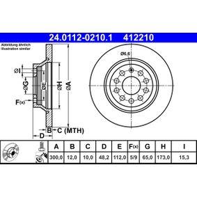24011202101 Bremsscheiben ATE 24.0112-0210.1 - Große Auswahl - stark reduziert