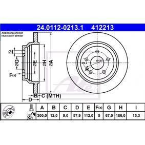 24011202131 Bremsscheiben ATE 24.0112-0213.1 - Große Auswahl - stark reduziert