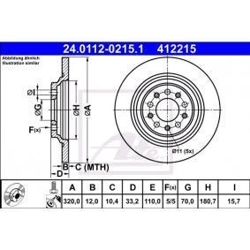 Kupi 412215 ATE Poln, prevlecen (premaz), z vijaki Ø: 320,0mm, Stevilo lukenj: 5, Debelina zavornega diska: 12,0mm Zavorni kolut 24.0112-0215.1 poceni