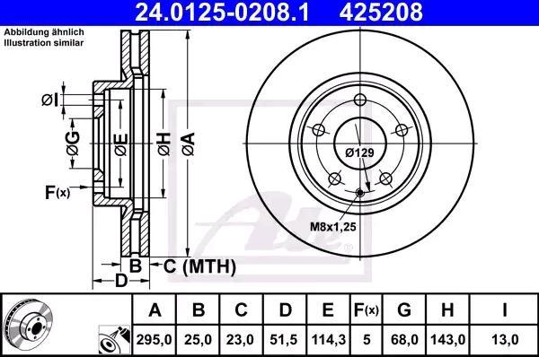 24012502081 Bremsscheiben ATE 24.0125-0208.1 - Große Auswahl - stark reduziert