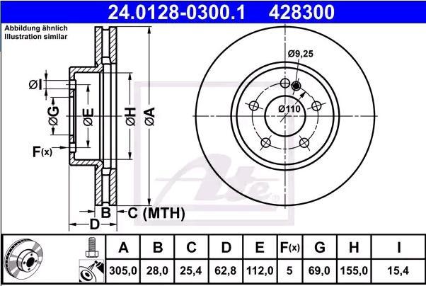 ATE: Original Scheibenbremsen 24.0128-0300.1 (Ø: 305,0mm, Lochanzahl: 5, Bremsscheibendicke: 28,0mm)