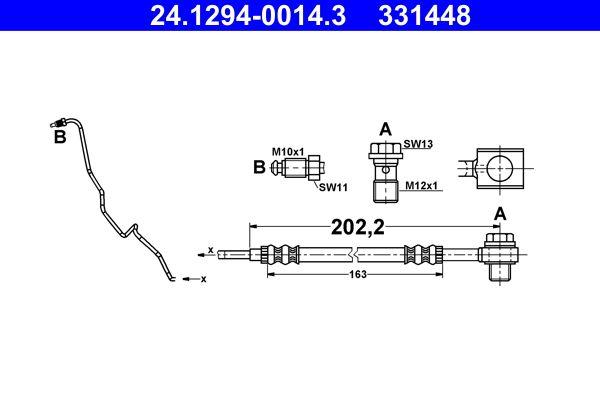 Achat de 331448 ATE avec tuyau, avec vis creuse Longueur: 202,2mm Flexible de frein 24.1294-0014.3 pas chères