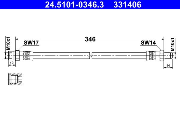 Bremsschlauch 24.5101-0346.3 rund um die Uhr online kaufen