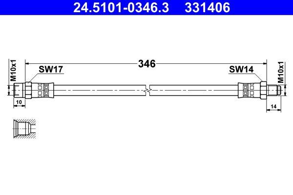 Flexible de frein 24.5101-0346.3 ATE — seulement des pièces neuves
