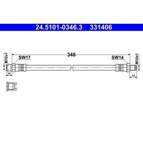 Achat de ATE Longueur: 346mm, Filetage extérieur: M10x1mm Flexible de frein 24.5101-0346.3 pas chères