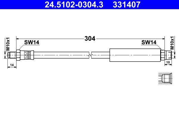 ATE: Original Bremsschlauch 24.5102-0304.3 (Länge: 304mm, Innengewinde: M10x1mm, Außengewinde: M10x1mm)