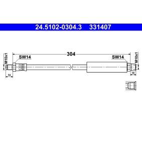 Achat de ATE Longueur: 304mm, Filetage extérieur: M10x1mm Flexible de frein 24.5102-0304.3 pas chères