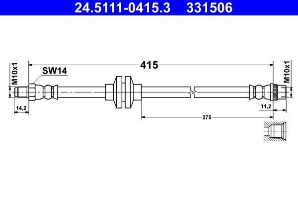 Achat de 331506 ATE Longueur: 415mm, Filetage intérieur: M10x1mm, Filetage extérieur: M10x1mm Flexible de frein 24.5111-0415.3 pas chères