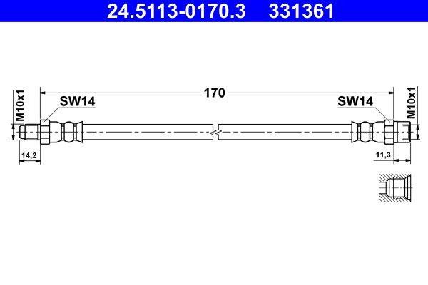 Original VW Bremsschläuche 24.5113-0170.3