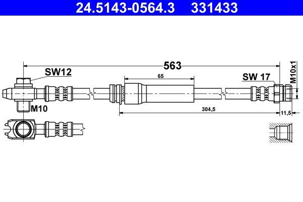 ATE: Original Bremsschlauch 24.5143-0564.3 (Länge: 563mm, Innengewinde: M10x1mm)