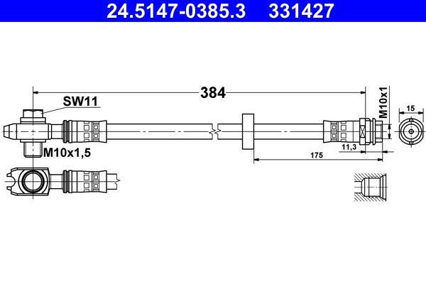 ATE: Original Rohre 24.5147-0385.3 (Länge: 384mm, Innengewinde: M10x1mm)