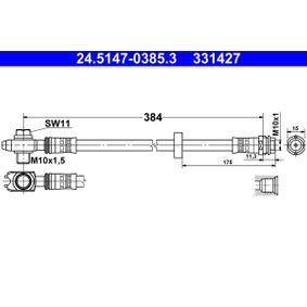 Achat de ATE avec vis creuse Longueur: 384mm, Filetage intérieur: M10x1mm Flexible de frein 24.5147-0385.3 pas chères