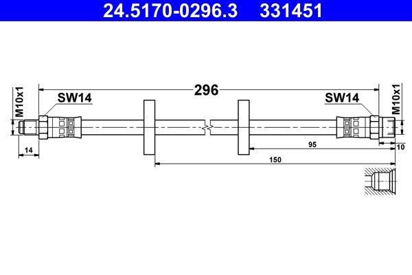 Original VW Bremsschlauch 24.5170-0296.3