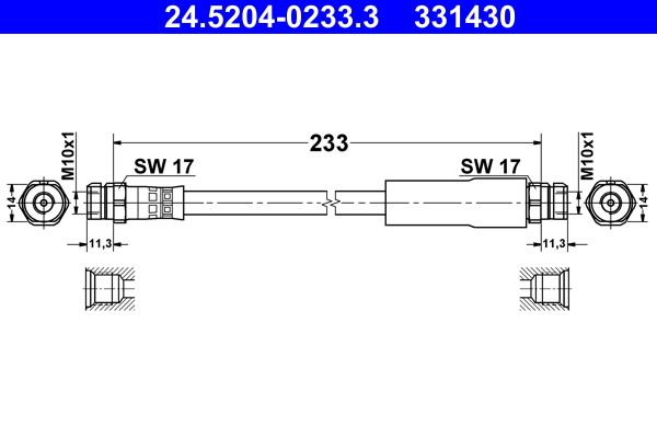 ATE: Original Rohre 24.5204-0233.3 (Länge: 233mm, Innengewinde 1: M10x1mm, Innengewinde 2: M10x1mm)