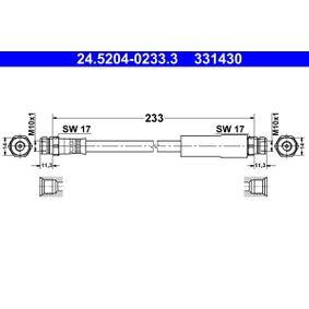 331430 ATE Länge: 233mm, Innengewinde 1: M10x1mm Bremsschlauch 24.5204-0233.3 günstig kaufen
