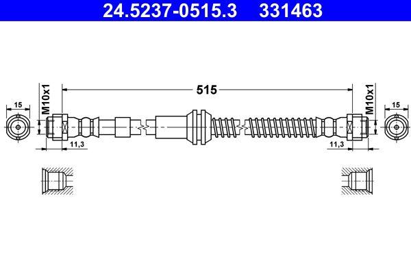 ATE: Original Bremsschläuche 24.5237-0515.3 (Länge: 515mm, Innengewinde 1: M10x1mm, Innengewinde 2: M10x1mm)