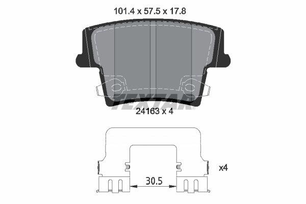 DODGE CHARGER 2014 Bremsbelagsatz - Original TEXTAR 2416303 Höhe: 57,5mm, Breite: 101,4mm, Dicke/Stärke: 17,8mm
