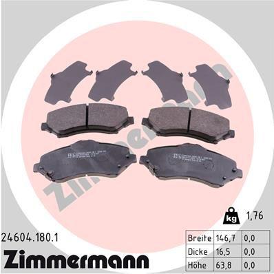 24605 ZIMMERMANN mit akustischer Verschleißwarnung, ohne Zubehör Höhe: 64mm, Breite: 147mm, Dicke/Stärke: 16mm Bremsbelagsatz, Scheibenbremse 24604.180.1 günstig kaufen
