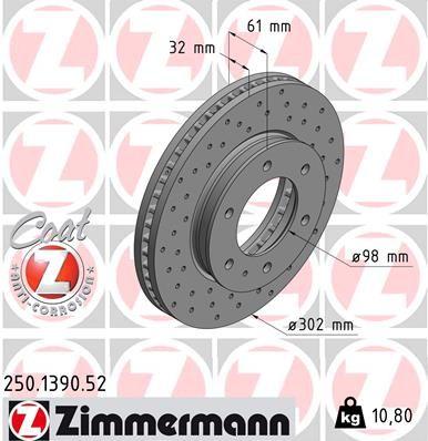 MAZDA BT-50 2018 Tuning - Original ZIMMERMANN 250.1390.52 Ø: 302mm, Felge: 6-loch, Bremsscheibendicke: 32mm