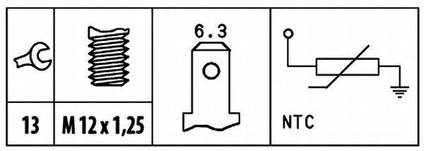 HELLA   Sensor, Kühlmitteltemperatur 6PT 009 309-491