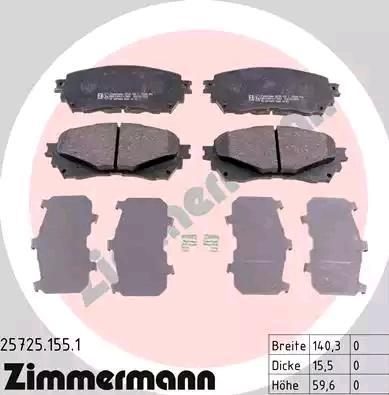 25725.155.1 Bremsbelagsatz ZIMMERMANN - Markenprodukte billig