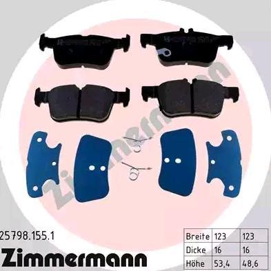 ZIMMERMANN Bremsbelagsatz, Scheibenbremse 25798.155.1