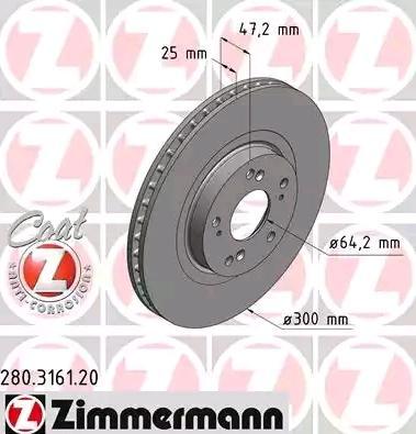 Купете 280.3161.20 ZIMMERMANN COAT Z вътрешновентилиран, с покритие Ø: 300мм, джанта: 5-дупки, дебелина на спирачния диск: 25мм Спирачен диск 280.3161.20 евтино