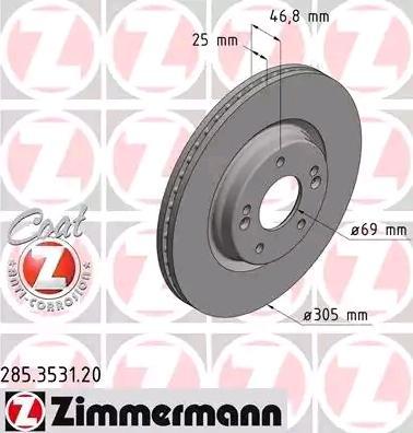 285353120 Bremsscheiben ZIMMERMANN 285.3531.20 - Große Auswahl - stark reduziert
