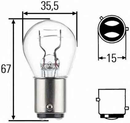 Glödlampa till bromslykta 8GD 004 772-151 HELLA — bara nya delar