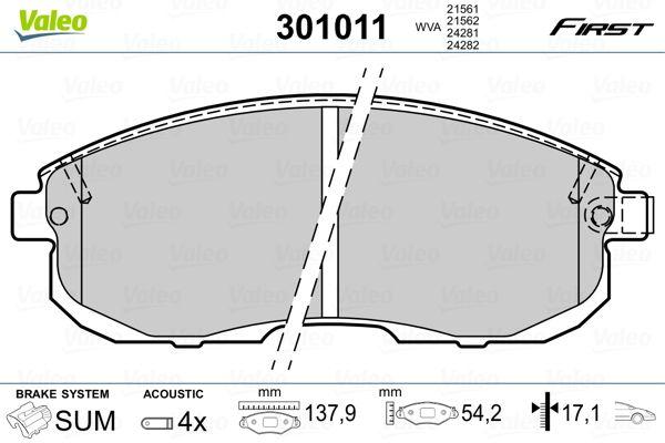 301011 Bremsbelagsatz VALEO - Markenprodukte billig