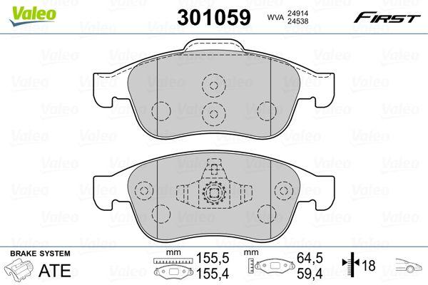 Buy original Brake pad set VALEO 301059