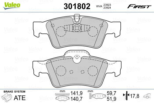 MERCEDES-BENZ G-Klasse 2015 Bremsklötze - Original VALEO 301802 Höhe 2: 51,9mm, Höhe: 59,7mm, Breite 2: 140,7mm, Breite: 141,9mm, Dicke/Stärke 2: 17,8mm, Dicke/Stärke: 17,8mm