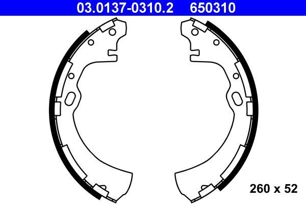 650310 ATE Breite: 52mm Bremsbackensatz 03.0137-0310.2 günstig kaufen