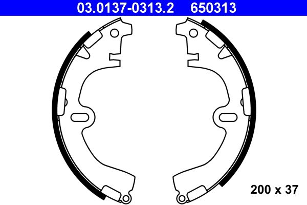 650313 ATE Breite: 37mm Bremsbackensatz 03.0137-0313.2 günstig kaufen