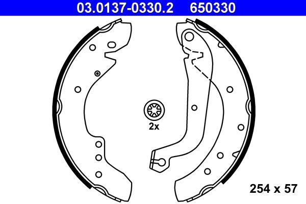 Original FIAT Bremsbackensatz für Trommelbremse 03.0137-0330.2