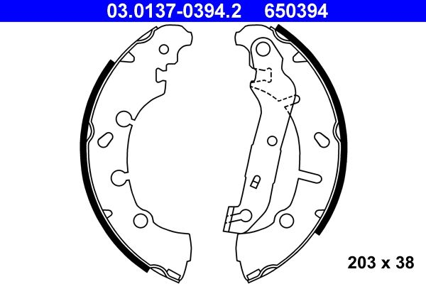 Brake shoe kits 03.0137-0394.2 ATE — only new parts
