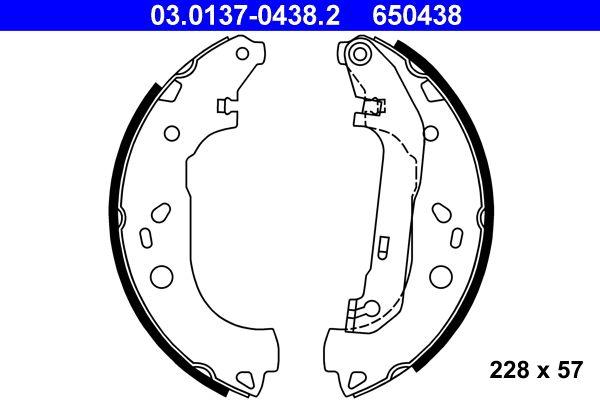 FORD TOURNEO CONNECT 2020 Bremsbeläge für Trommelbremsen - Original ATE 03.0137-0438.2 Breite: 57mm